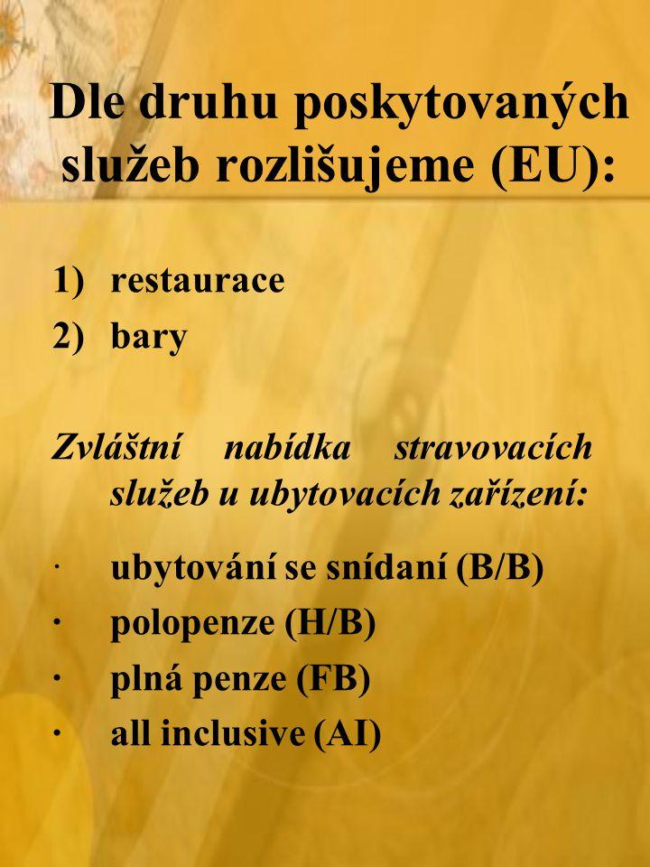 Dle druhu poskytovaných služeb rozlišujeme (EU): 1)restaurace 2)bary Zvláštní nabídka stravovacích služeb u ubytovacích zařízení: ·ubytování se snídaní (B/B) ·polopenze (H/B) ·plná penze (FB) ·all inclusive (AI)