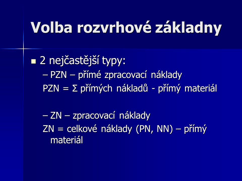 Volba rozvrhové základny 2 nejčastější typy: 2 nejčastější typy: –PZN – přímé zpracovací náklady PZN = Σ přímých nákladů - přímý materiál –ZN – zpraco