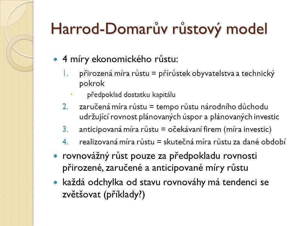 Harrod-Domarův růstový model 4 míry ekonomického růstu: 1.přirozená míra růstu = přírůstek obyvatelstva a technický pokrok  předpoklad dostatku kapit