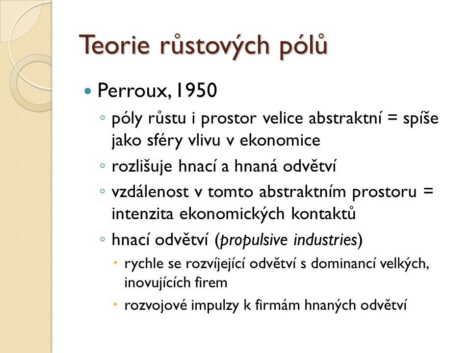 Teorie růstových pólů Perroux, 1950 ◦ póly růstu i prostor velice abstraktní = spíše jako sféry vlivu v ekonomice ◦ rozlišuje hnací a hnaná odvětví ◦
