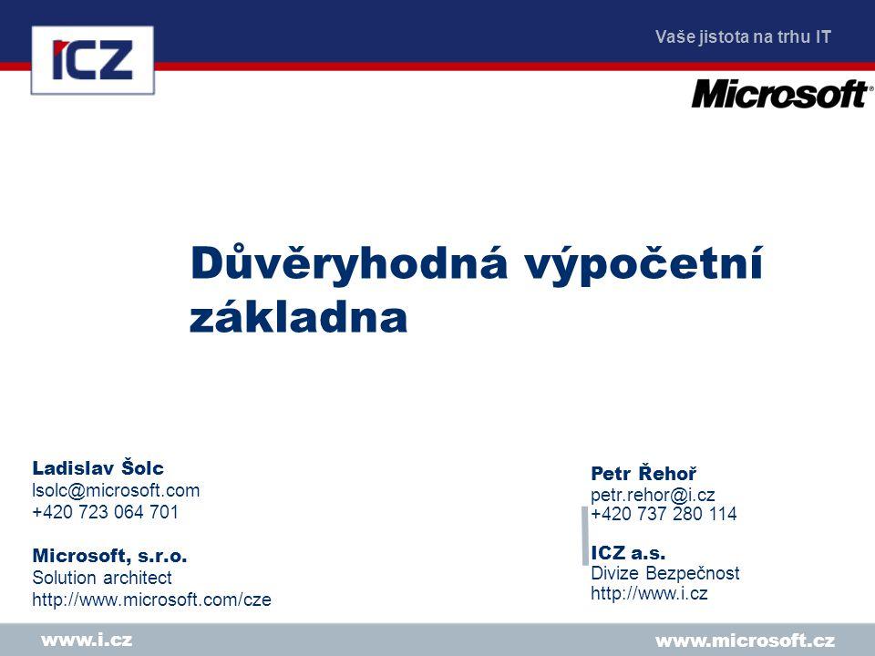 Vaše jistota na trhu IT www.microsoft.cz www.i.cz Důvěryhodná výpočetní základna Ladislav Šolc lsolc@microsoft.com +420 723 064 701 Microsoft, s.r.o.