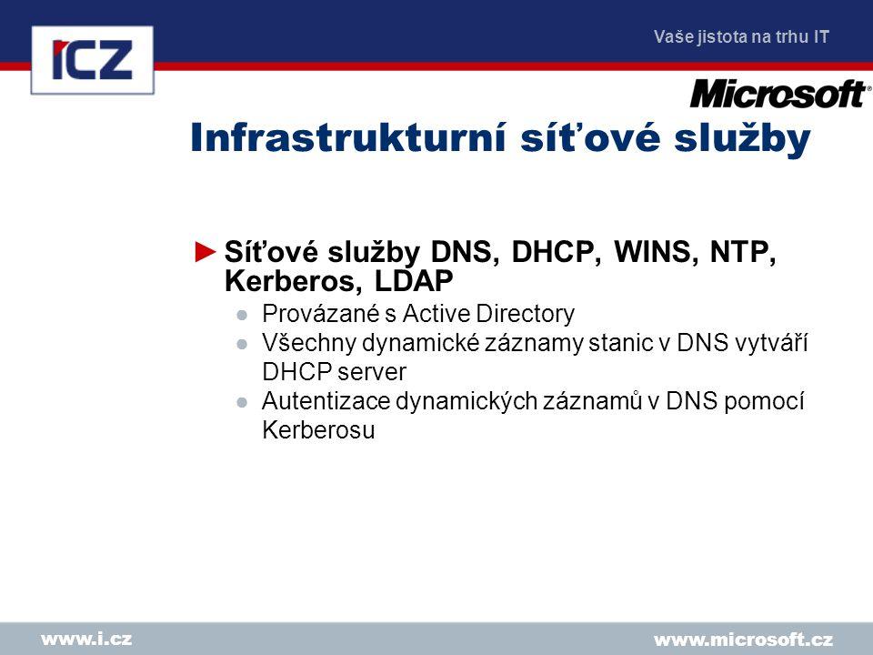 Vaše jistota na trhu IT www.microsoft.cz www.i.cz Infrastrukturní síťové služby ►Síťové služby DNS, DHCP, WINS, NTP, Kerberos, LDAP ●Provázané s Active Directory ●Všechny dynamické záznamy stanic v DNS vytváří DHCP server ●Autentizace dynamických záznamů v DNS pomocí Kerberosu