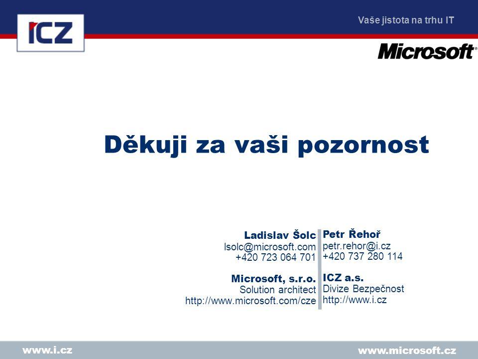 Vaše jistota na trhu IT www.i.cz Děkuji za vaši pozornost Ladislav Šolc lsolc@microsoft.com +420 723 064 701 Microsoft, s.r.o.