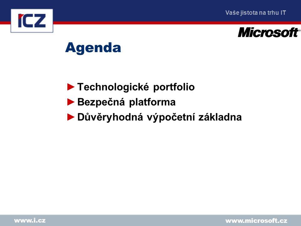 Vaše jistota na trhu IT www.microsoft.cz www.i.cz Agenda ►Technologické portfolio ►Bezpečná platforma ►Důvěryhodná výpočetní základna