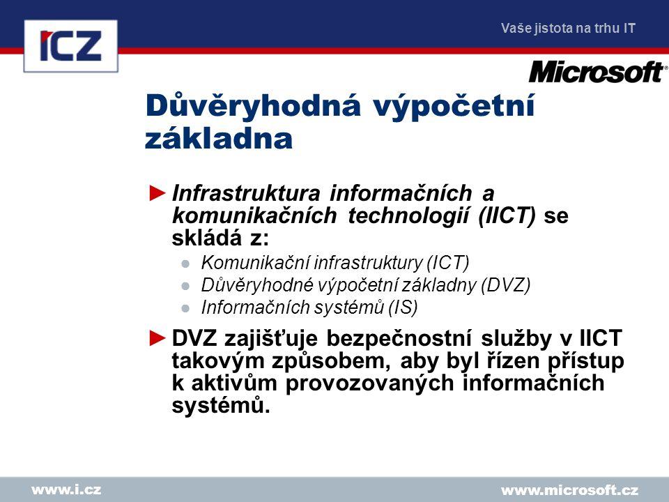 Vaše jistota na trhu IT www.microsoft.cz www.i.cz Důvěryhodná výpočetní základna ►Infrastruktura informačních a komunikačních technologií (IICT) se skládá z: ●Komunikační infrastruktury (ICT) ●Důvěryhodné výpočetní základny (DVZ) ●Informačních systémů (IS) ►DVZ zajišťuje bezpečnostní služby v IICT takovým způsobem, aby byl řízen přístup k aktivům provozovaných informačních systémů.