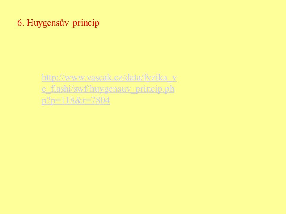 6. Huygensův princip http://www.vascak.cz/data/fyzika_v e_flashi/swf/huygensuv_princip.ph p?p=118&r=7804