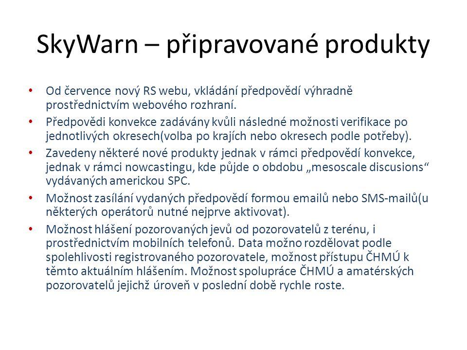 SkyWarn – připravované produkty Od července nový RS webu, vkládání předpovědí výhradně prostřednictvím webového rozhraní.