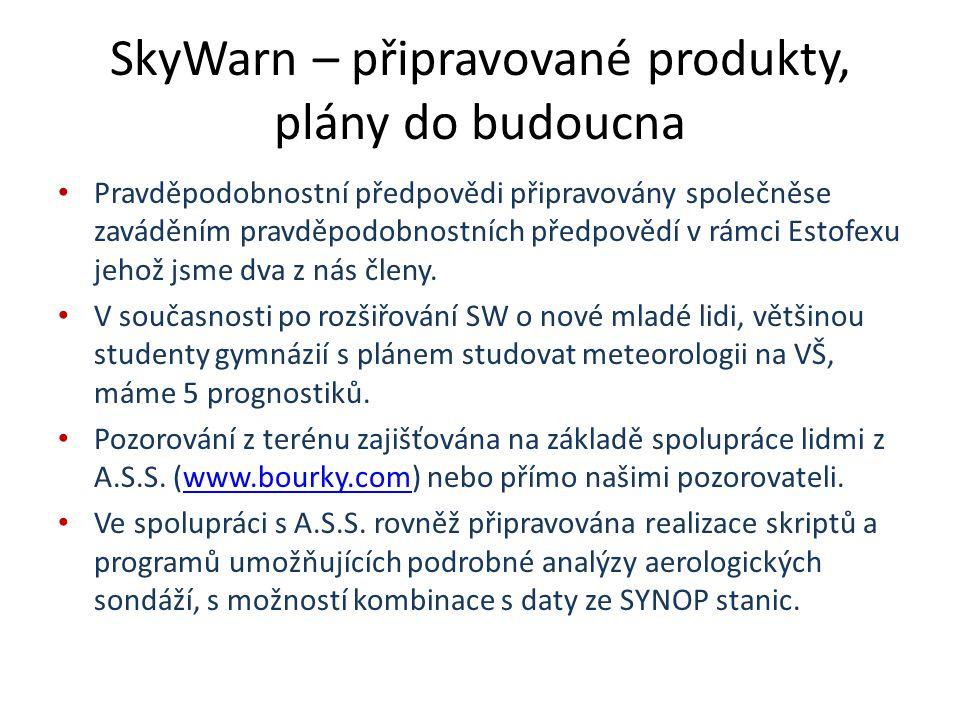 SkyWarn – připravované produkty, plány do budoucna Pravděpodobnostní předpovědi připravovány společněse zaváděním pravděpodobnostních předpovědí v rámci Estofexu jehož jsme dva z nás členy.