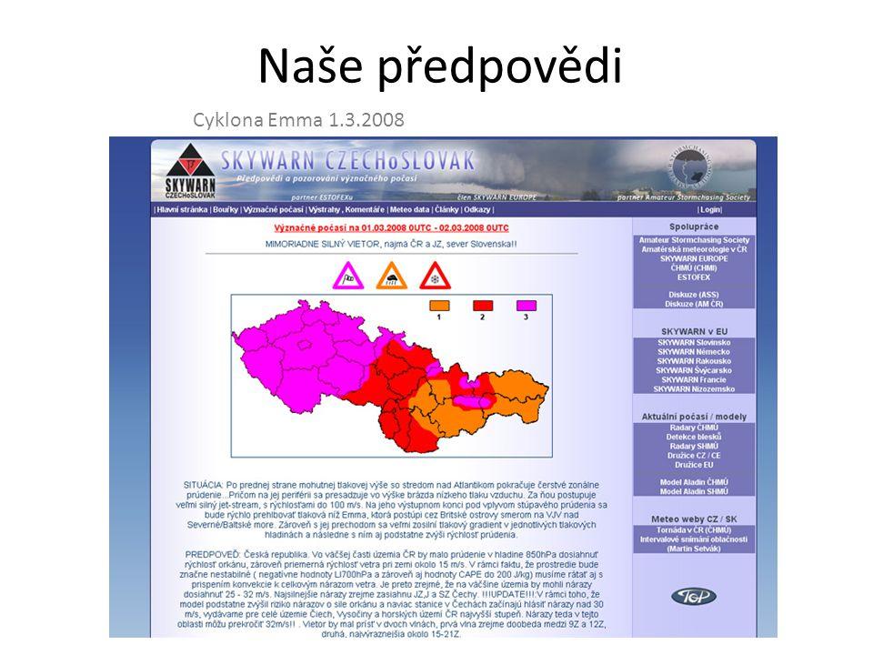 Naše předpovědi Derecho a supercely 25.6.2008