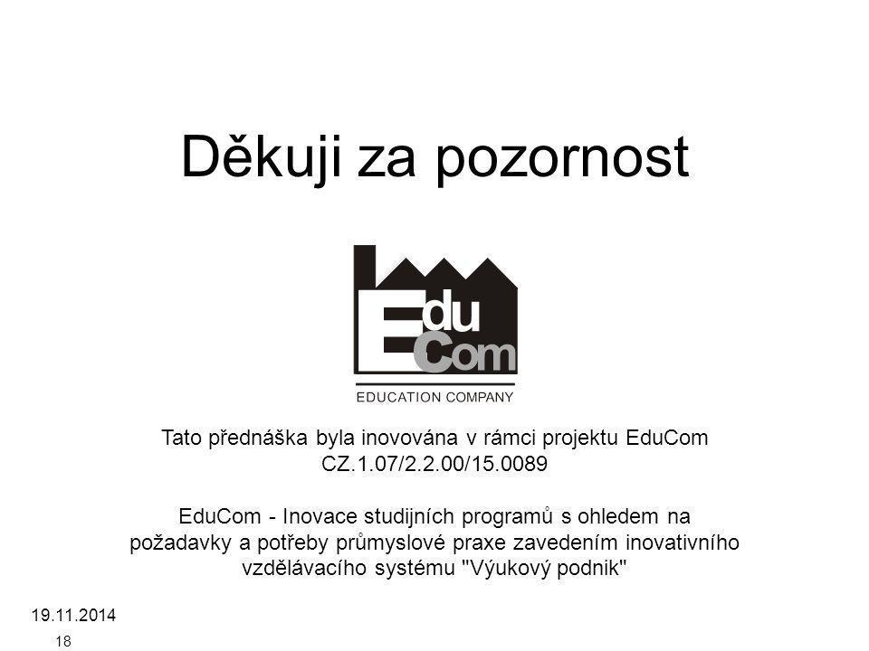 Děkuji za pozornost Tato přednáška byla inovována v rámci projektu EduCom CZ.1.07/2.2.00/15.0089 EduCom - Inovace studijních programů s ohledem na pož