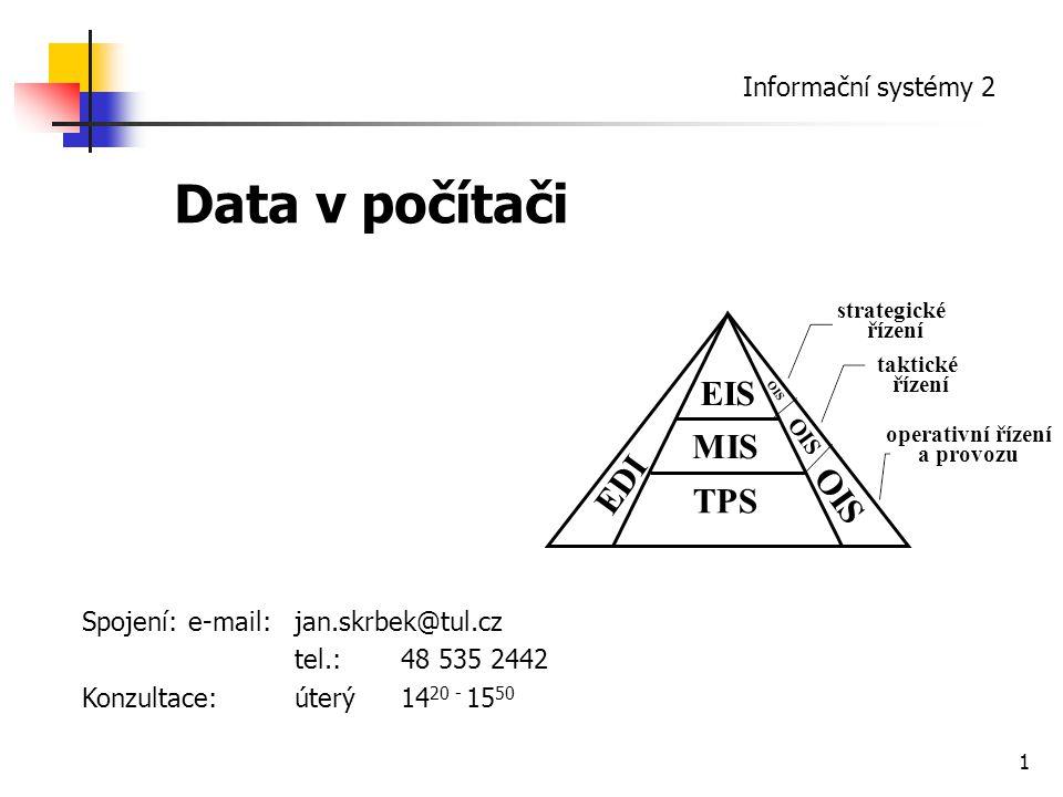 2 Základní typy (dělení z důvodu rozlišení povolených a nepovolených manipulací a hodnot): textová (řetězce znaků) číselná – čísla reálná, racionální … datum, čas logická – splnění podmínek, existence či neexistence vlastností objektu kategorie – hodnota vlastností vybraná ze škály (často číselníky, umožňující zaznamenání hodnoty pouze kódem) Data strukturovaná Strukturováním je vytvářena taková organizace dat, která umožňuje efektivně zpracovat a vyhledat údaje podle potřeby.
