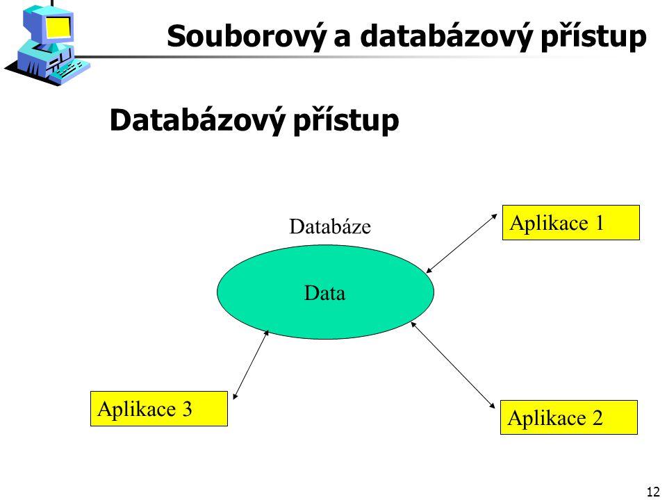 12 Databázový přístup Data Databáze Aplikace 1 Aplikace 2 Aplikace 3 Souborový a databázový přístup