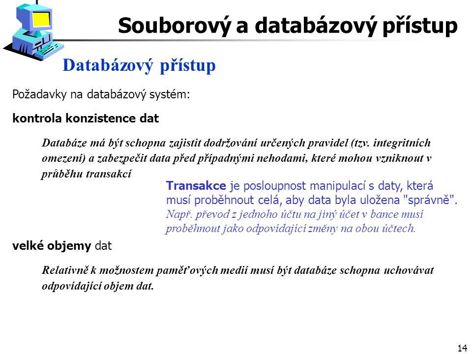 14 Databázový přístup Souborový a databázový přístup Požadavky na databázový systém: kontrola konzistence dat Databáze má být schopna zajistit dodržování určených pravidel (tzv.