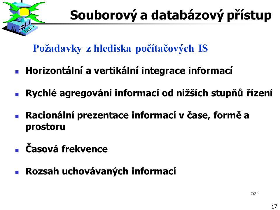 17 F Požadavky z hlediska počítačových IS Horizontální a vertikální integrace informací Rychlé agregování informací od nižších stupňů řízení Racionální prezentace informací v čase, formě a prostoru Časová frekvence Rozsah uchovávaných informací Souborový a databázový přístup