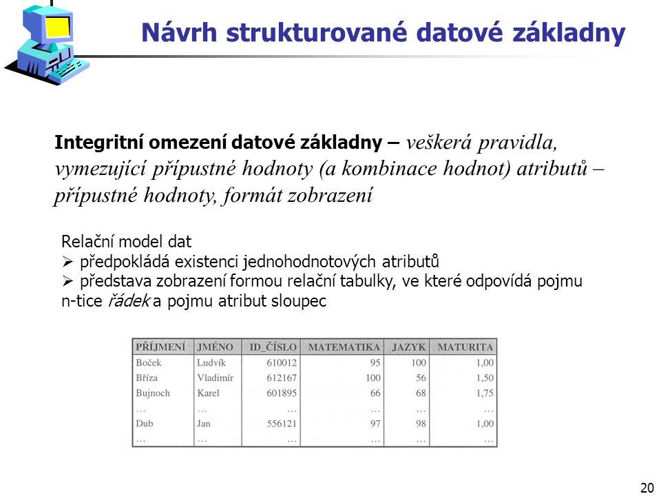 20 Návrh strukturované datové základny Integritní omezení datové základny – veškerá pravidla, vymezující přípustné hodnoty (a kombinace hodnot) atributů – přípustné hodnoty, formát zobrazení Relační model dat  předpokládá existenci jednohodnotových atributů  představa zobrazení formou relační tabulky, ve které odpovídá pojmu n-tice řádek a pojmu atribut sloupec