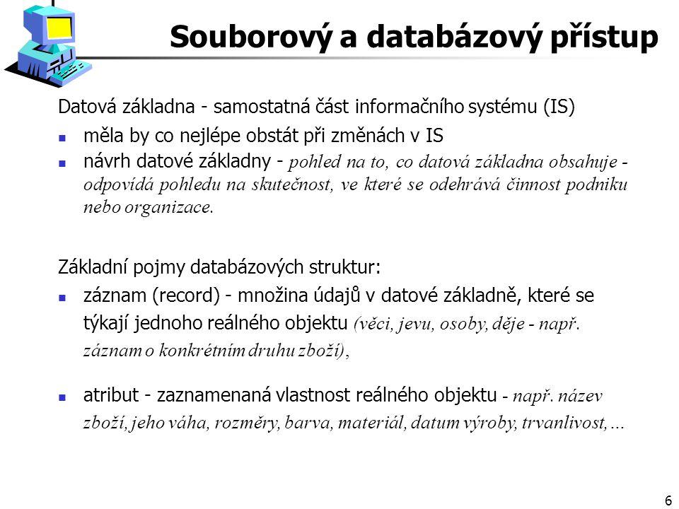 6 Datová základna - samostatná část informačního systému (IS) měla by co nejlépe obstát při změnách v IS návrh datové základny - pohled na to, co datová základna obsahuje - odpovídá pohledu na skutečnost, ve které se odehrává činnost podniku nebo organizace.