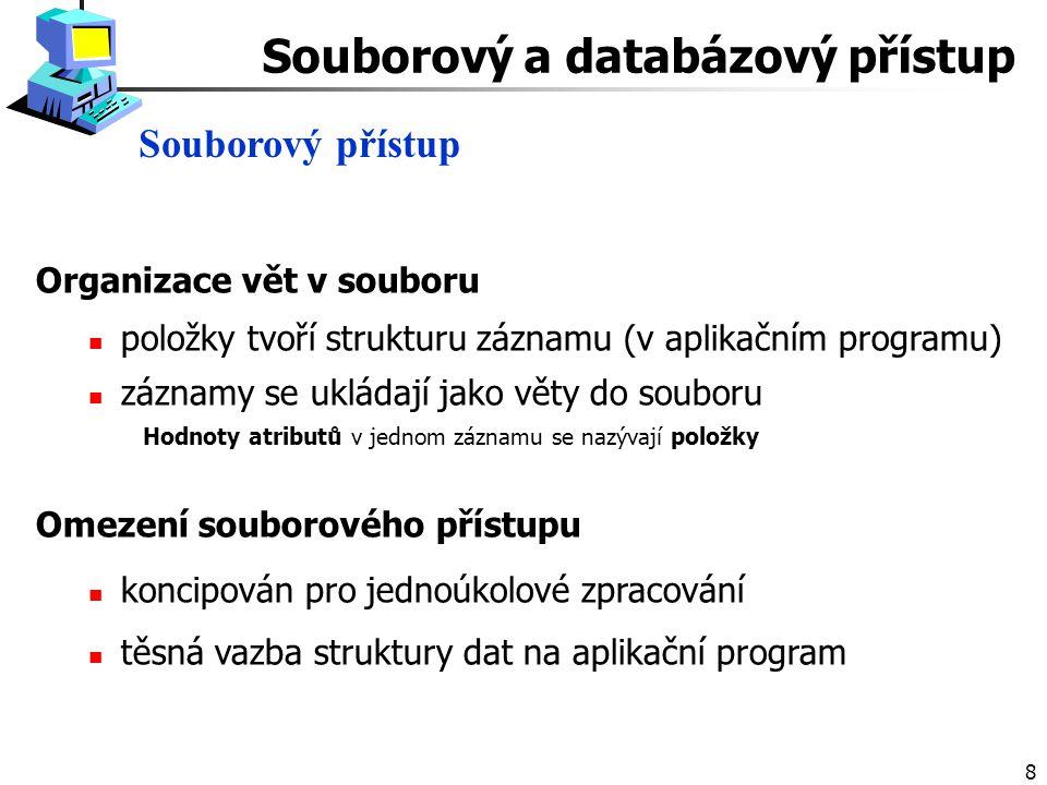 8 Organizace vět v souboru položky tvoří strukturu záznamu (v aplikačním programu) záznamy se ukládají jako věty do souboru Hodnoty atributů v jednom záznamu se nazývají položky Omezení souborového přístupu koncipován pro jednoúkolové zpracování těsná vazba struktury dat na aplikační program Souborový přístup Souborový a databázový přístup