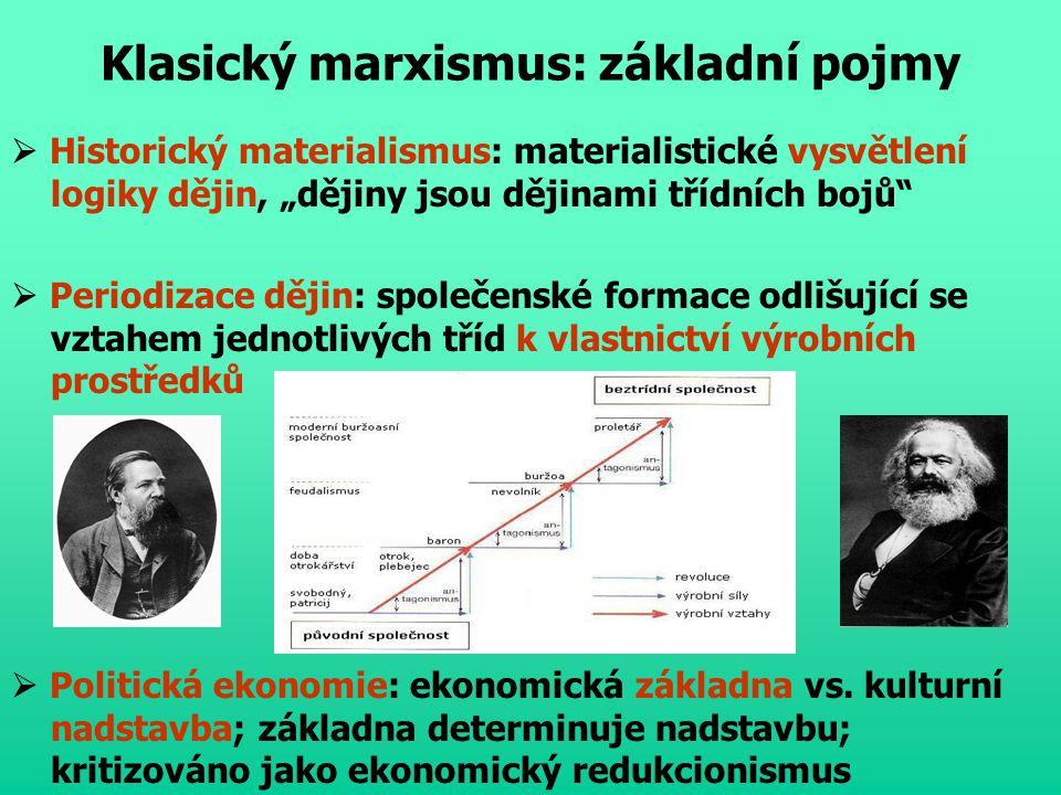 Klasický marxismus: kritika médií  Ideologie: výklad světa, závislý na třídní pozici a obhajobě zájmů s touto pozicí souvisejících  Falešné vědomí: