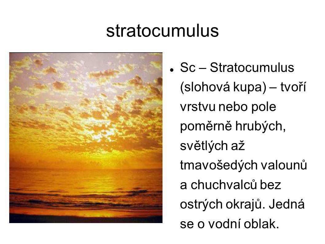 stratocumulus Sc – Stratocumulus (slohová kupa) – tvoří vrstvu nebo pole poměrně hrubých, světlých až tmavošedých valounů a chuchvalců bez ostrých okr
