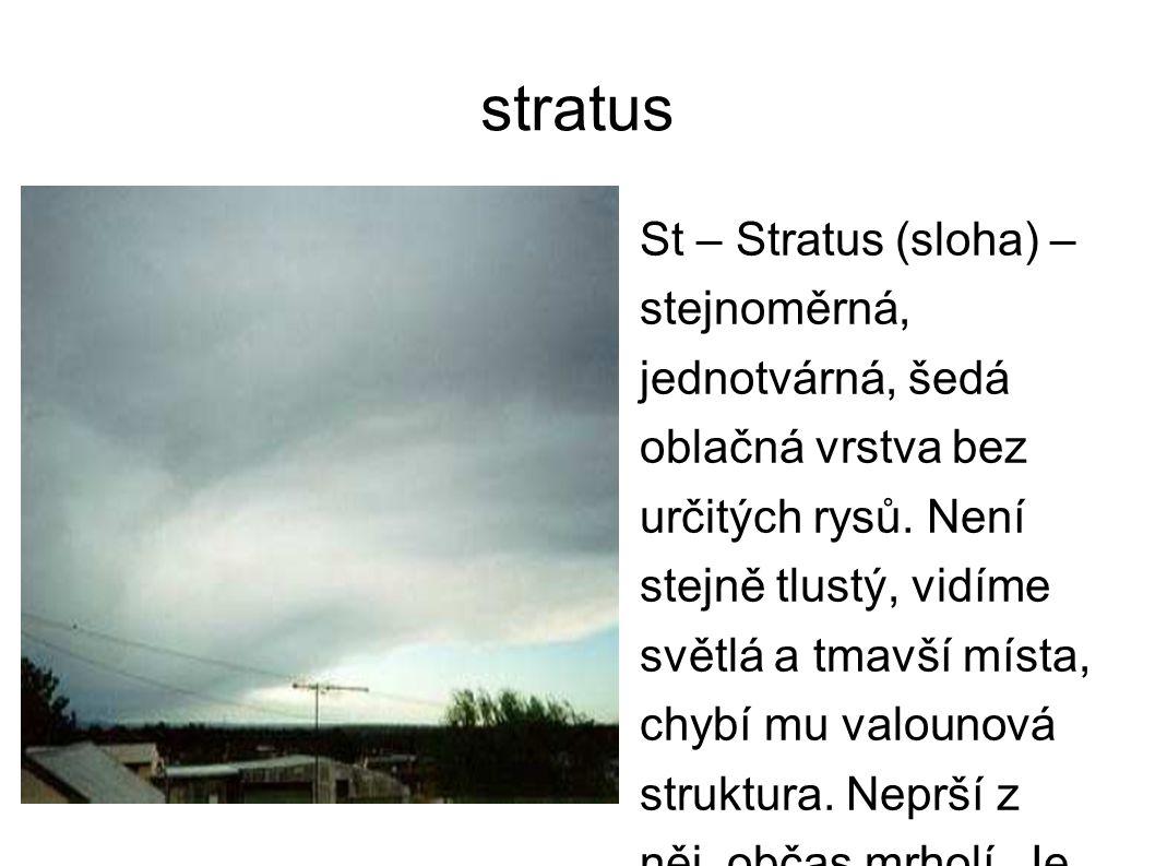 stratus St – Stratus (sloha) – stejnoměrná, jednotvárná, šedá oblačná vrstva bez určitých rysů. Není stejně tlustý, vidíme světlá a tmavší místa, chyb