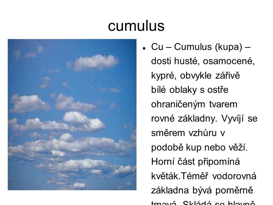 cumulus Cu – Cumulus (kupa) – dosti husté, osamocené, kypré, obvykle zářivě bílé oblaky s ostře ohraničeným tvarem rovné základny. Vyvíjí se směrem vz