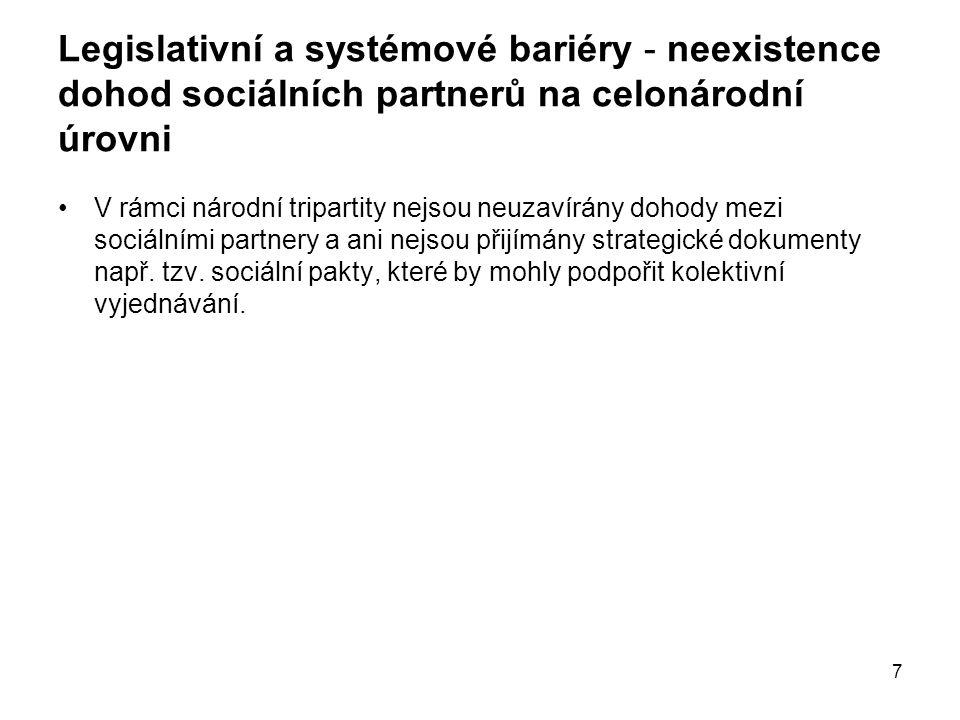 7 Legislativní a systémové bariéry - neexistence dohod sociálních partnerů na celonárodní úrovni V rámci národní tripartity nejsou neuzavírány dohody mezi sociálními partnery a ani nejsou přijímány strategické dokumenty např.
