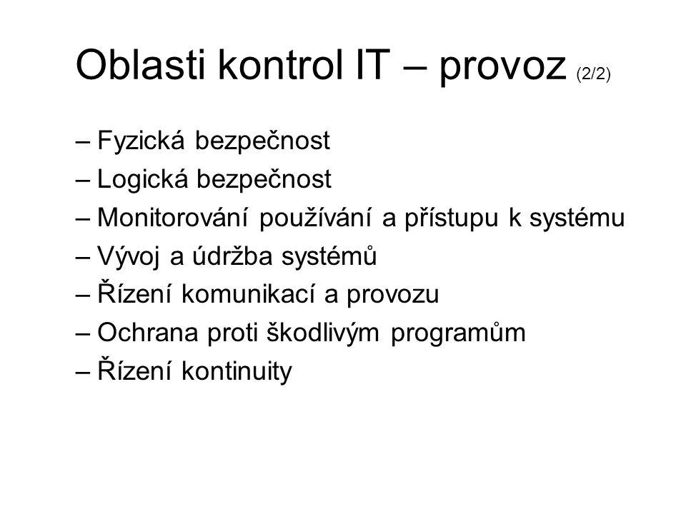"""Oblasti kontrol IT – provoz (1/2) Provoz –implementace """"teorie do praxe"""" –technologie & architektura –přístup administrátorů –bezpečnost provozu –bezp"""
