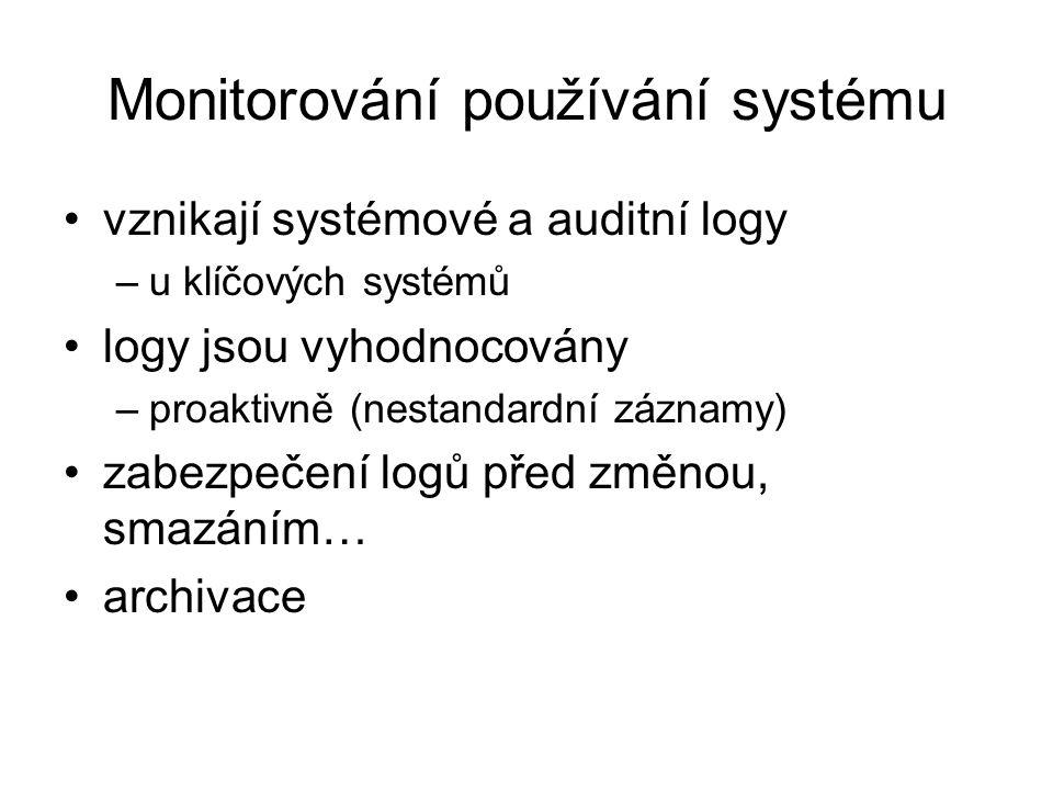 Logická bezpečnost přístup do IS banky je řízen –autorizace, identifikace, autentizace je jednoznačné přiřazení uživatel-account přidělování uživatels