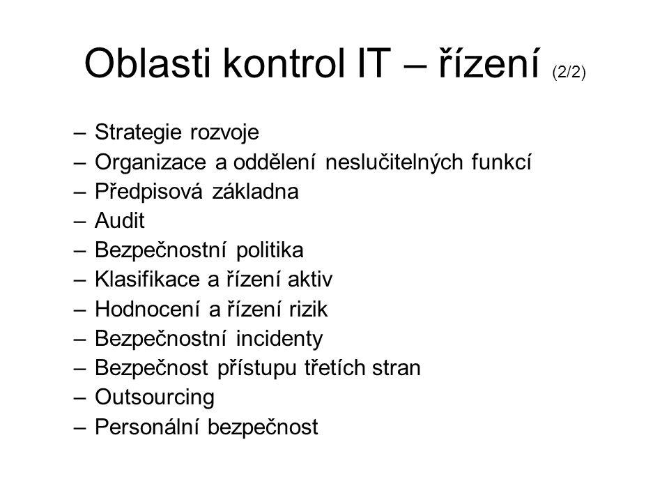 Oblasti kontrol IT – řízení (1/2) Řízení –řízení rizik IT –základy pro bezpečné a stabilní prostření IT –nastavení potřebných procesů –standardizace p