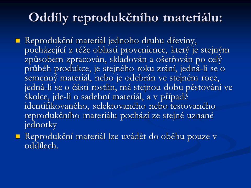 Oddíly reprodukčního materiálu: Reprodukční materiál jednoho druhu dřeviny, pocházející z téže oblasti provenience, který je stejným způsobem zpracová
