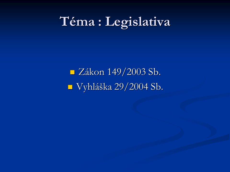 Téma : Legislativa Zákon 149/2003 Sb. Zákon 149/2003 Sb. Vyhláška 29/2004 Sb. Vyhláška 29/2004 Sb.
