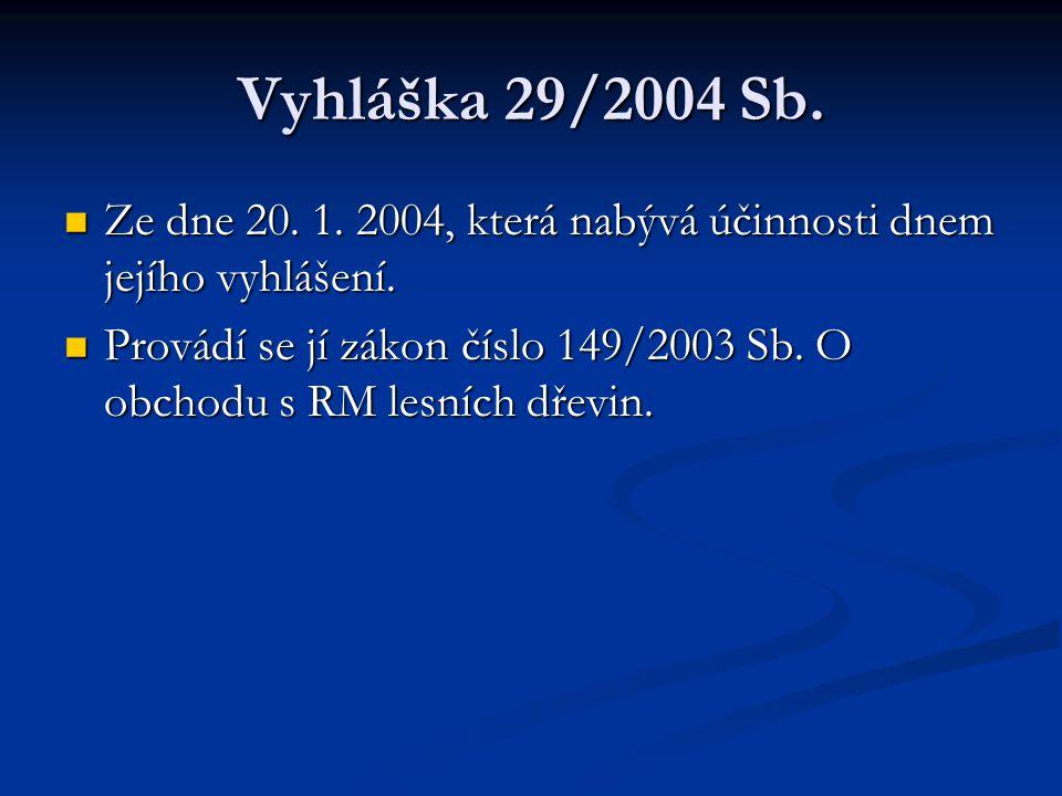 Vyhláška 29/2004 Sb. Ze dne 20. 1. 2004, která nabývá účinnosti dnem jejího vyhlášení. Ze dne 20. 1. 2004, která nabývá účinnosti dnem jejího vyhlášen