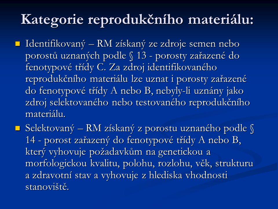 Kategorie reprodukčního materiálu: Identifikovaný – RM získaný ze zdroje semen nebo porostů uznaných podle § 13 - porosty zařazené do fenotypové třídy