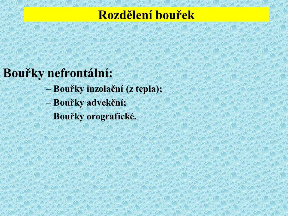 Rozdělení bouřek Bouřky nefrontální: –Bouřky inzolační (z tepla); –Bouřky advekční; –Bouřky orografické.
