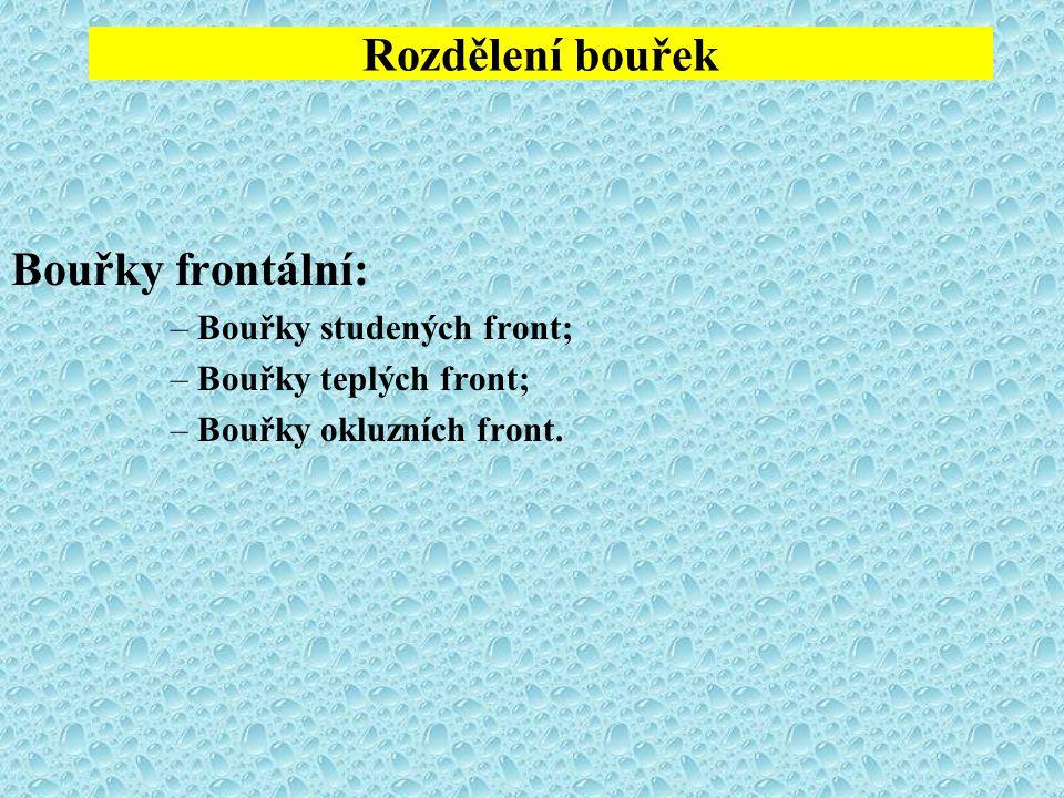 Rozdělení bouřek Bouřky frontální: –Bouřky studených front; –Bouřky teplých front; –Bouřky okluzních front.
