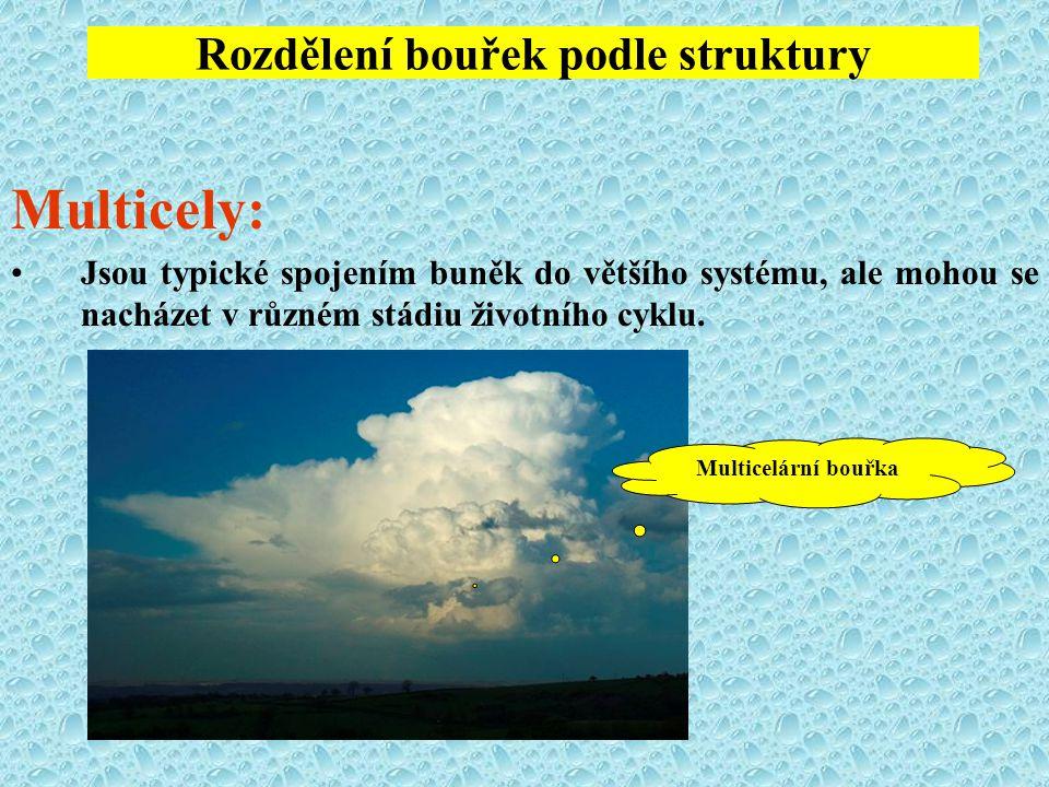 Rozdělení bouřek podle struktury Multicely: Jsou typické spojením buněk do většího systému, ale mohou se nacházet v různém stádiu životního cyklu. Mul