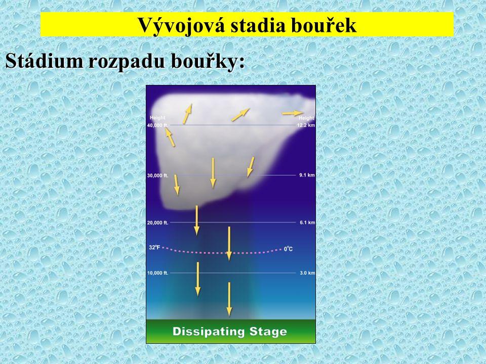 Vývojová stadia bouřek Stádium rozpadu bouřky: