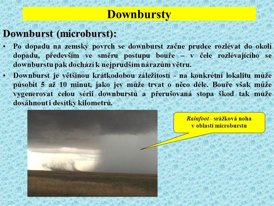 Downbursty Downburst (microburst): Po dopadu na zemský povrch se downburst začne prudce rozlévat do okolí dopadu, především ve směru postupu bouře – v