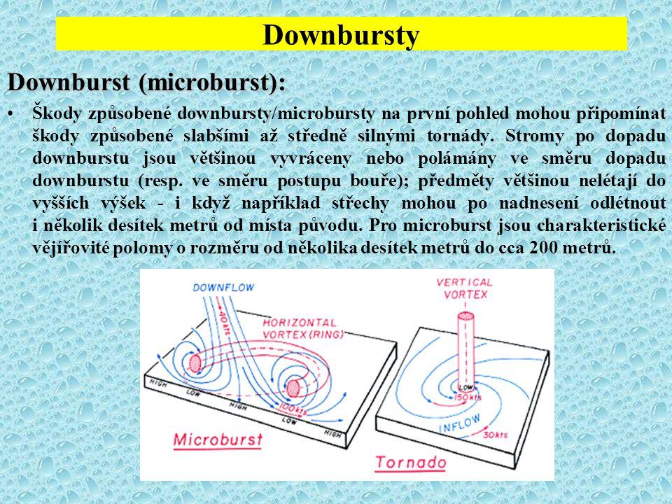 Downbursty Downburst (microburst): Škody způsobené downbursty/microbursty na první pohled mohou připomínat škody způsobené slabšími až středně silnými