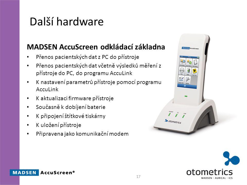 Další hardware MADSEN AccuScreen odkládací základna Přenos pacientských dat z PC do přístroje Přenos pacientských dat včetně výsledků měření z přístroje do PC, do programu AccuLink K nastavení parametrů přístroje pomocí programu AccuLink K aktualizaci firmware přístroje Současně k dobíjení baterie K připojení štítkové tiskárny K uložení přístroje Připravena jako komunikační modem 17