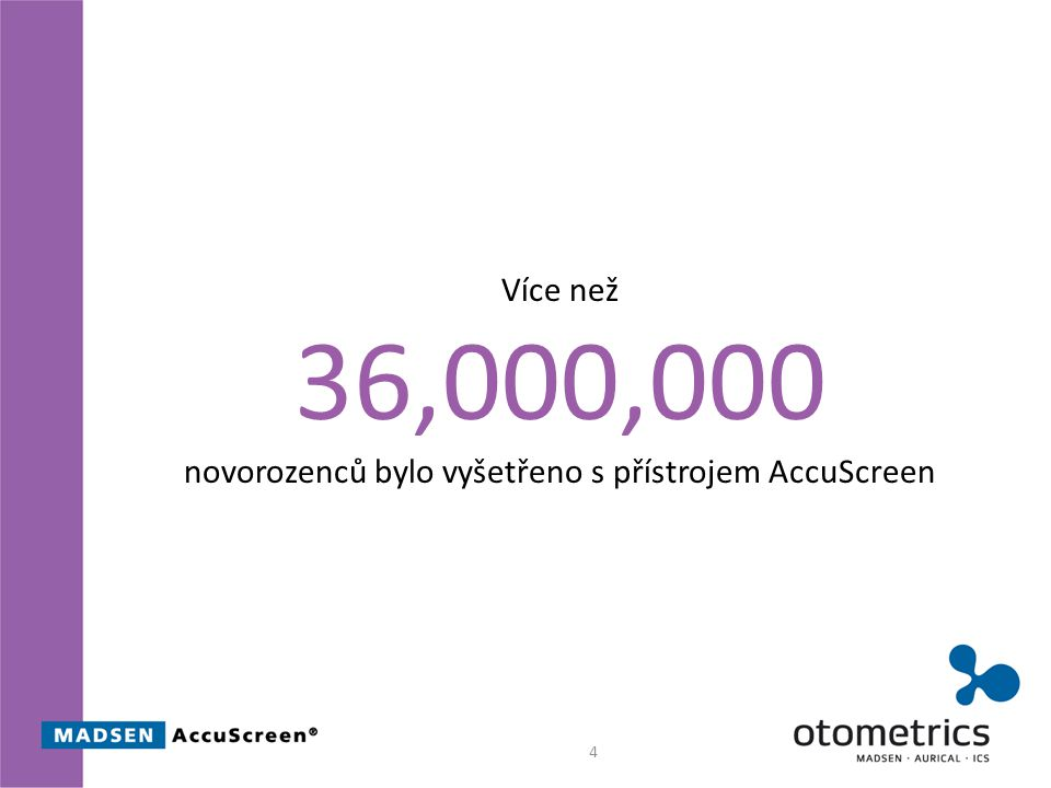 4 Více než 36,000,000 novorozenců bylo vyšetřeno s přístrojem AccuScreen
