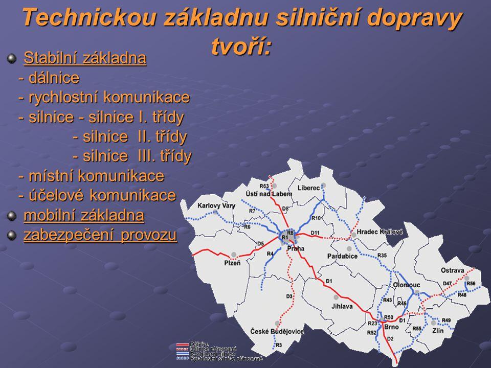 Technickou základnu silniční dopravy tvoří: Stabilní základna - dálnice - dálnice - rychlostní komunikace - rychlostní komunikace - silnice - silnice