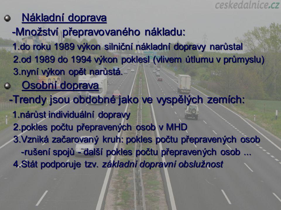 Typické pro ČR je: rapidní nárůst počtu osobních automobilů na počet obyvatel nedostatečná silniční dopravní infrastruktura zanedbaná silniční dopravní infrastruktura nedostatečné napojení na mezinárodní silniční síť malé využívání kombinované přepravy