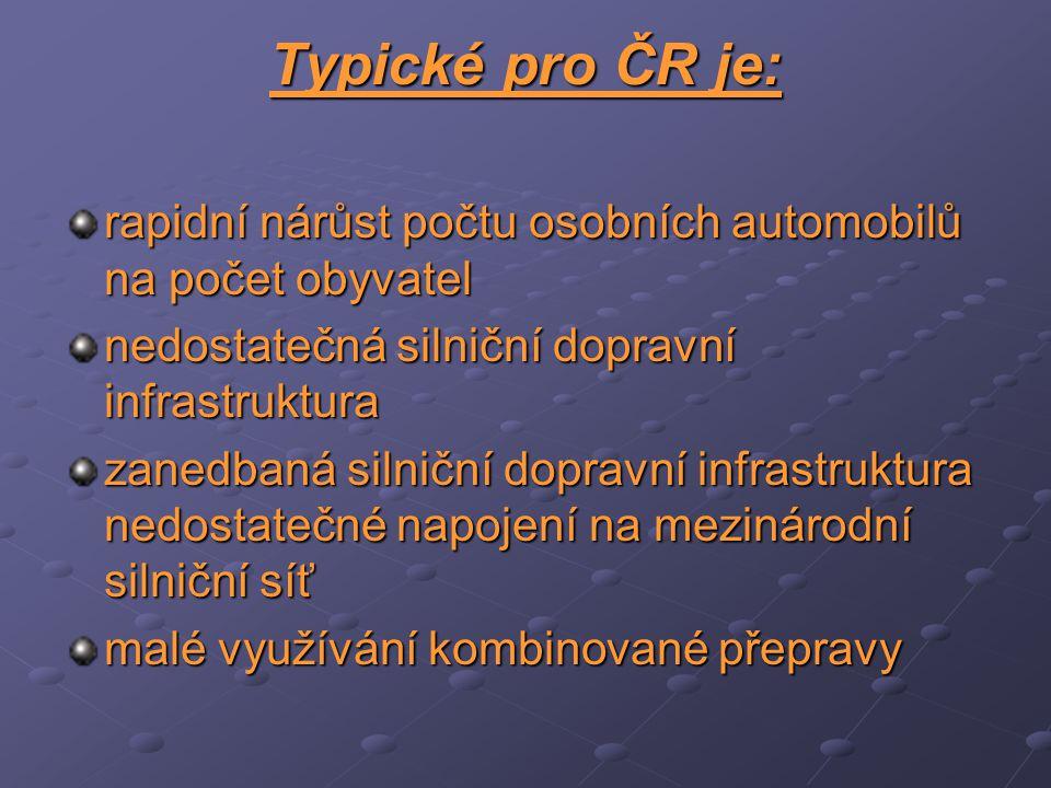 Typické pro ČR je: rapidní nárůst počtu osobních automobilů na počet obyvatel nedostatečná silniční dopravní infrastruktura zanedbaná silniční dopravn