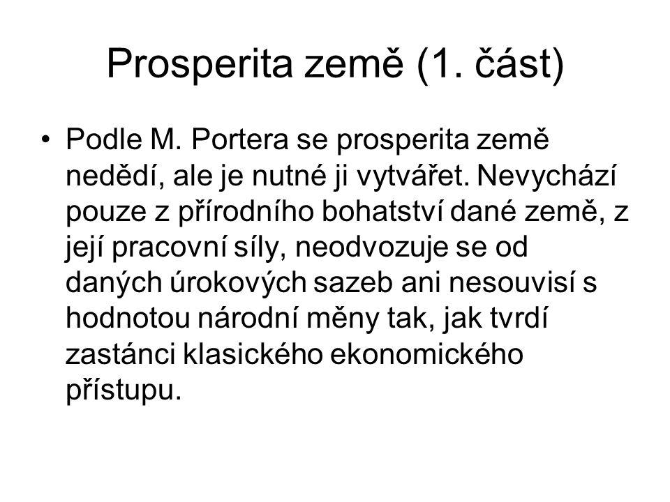 Prosperita země (1. část) Podle M. Portera se prosperita země nedědí, ale je nutné ji vytvářet. Nevychází pouze z přírodního bohatství dané země, z je
