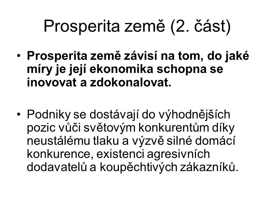 Prosperita země (2. část) Prosperita země závisí na tom, do jaké míry je její ekonomika schopna se inovovat a zdokonalovat. Podniky se dostávají do vý