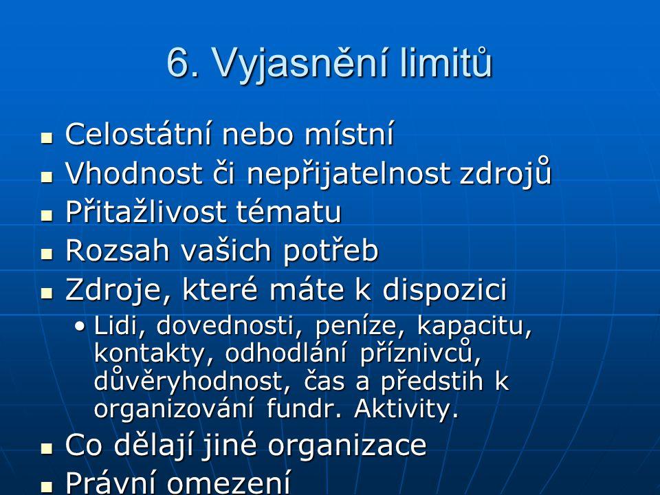 6. Vyjasnění limitů Celostátní nebo místní Celostátní nebo místní Vhodnost či nepřijatelnost zdrojů Vhodnost či nepřijatelnost zdrojů Přitažlivost tém