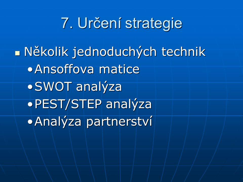 7. Určení strategie Několik jednoduchých technik Několik jednoduchých technik Ansoffova maticeAnsoffova matice SWOT analýzaSWOT analýza PEST/STEP anal