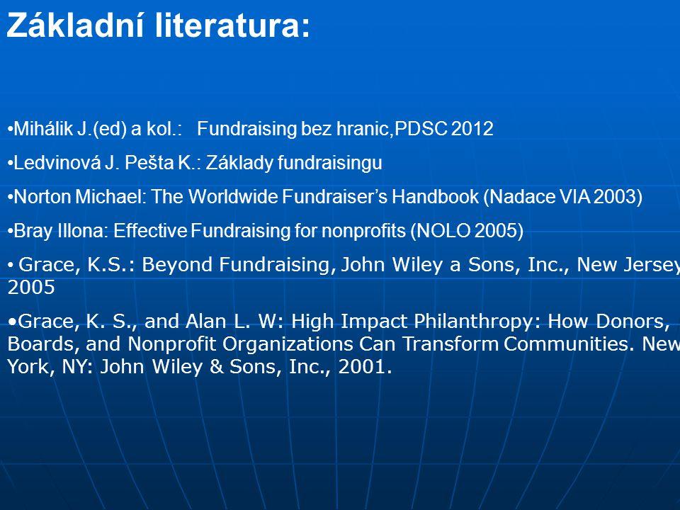 Základní literatura: Mihálik J.(ed) a kol.: Fundraising bez hranic,PDSC 2012 Ledvinová J. Pešta K.: Základy fundraisingu Norton Michael: The Worldwide