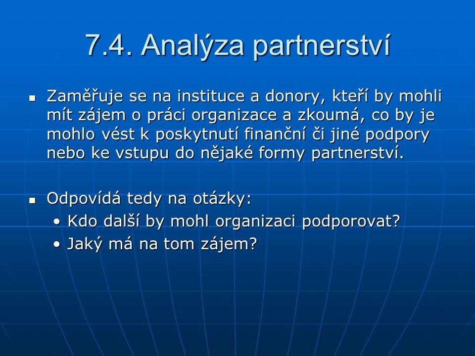 7.4. Analýza partnerství Zaměřuje se na instituce a donory, kteří by mohli mít zájem o práci organizace a zkoumá, co by je mohlo vést k poskytnutí fin